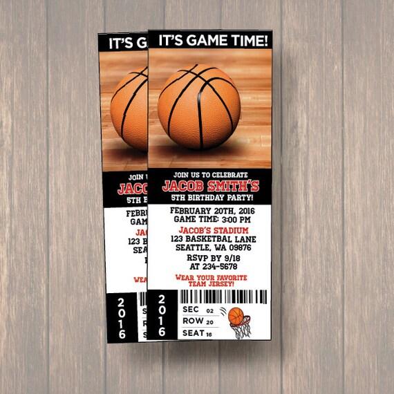 digital birthday party invitations basket ball birthday ticket
