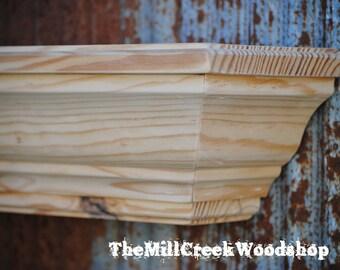 "Unfinished Wall Shelf 60"" Barn Floating Shelves Farmhouse Crown Molding Ledge Fireplace Mantel Rustic Home Decor Mantle"