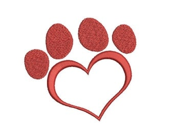 Machine Embroidery Design Instant Download - Love Heart Paw Print 1