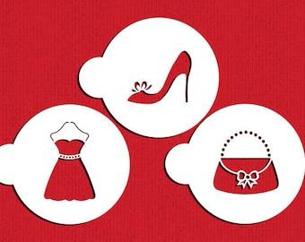 Fashionista Stencil Set - Dress Shoes Heels Stiletto Purse Handbag Diva Fashion Woman- ST-607 - Cookies, Cupcakes & Cakes Design Decorations