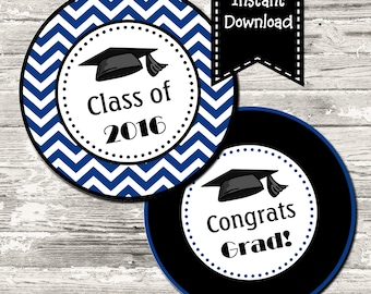 INSTANT DOWNLOAD Blue Chevron Graduation Circle Tag Cupcake Topper Digital Printable