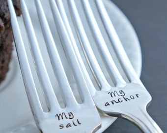 Stamped Wedding Forks, My sail, My anchor, Silverplate Fork Set, Engagement Gift, Bridal Shower Gift, Wedding Gift, Nautical Wedding Decor