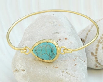 Mystic Turquoise Bracelet Virginia - Gold and Turquoise Bracelet, Blue Turquoise Jewelry, December Birthsone Bracelet