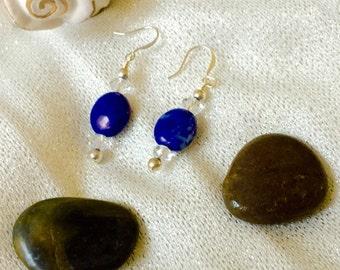 Blue Howlite and Swarovski Crystal Earrings