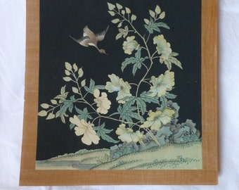 Vintage Chinese Watercolor on Silk~~Chinese Flora & Fauna Artwork~Painted Rice Paper~Painted Silk~Chinese Bird Painting~~Botanical Painting
