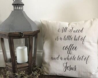 Coffee & Jesus pillow cover