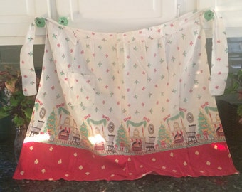Festive Vintage Christmas Apron - FREE SHIPPING - US only