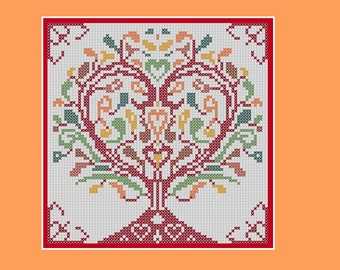 Tree of hearts cross stitch pattern: abstract design