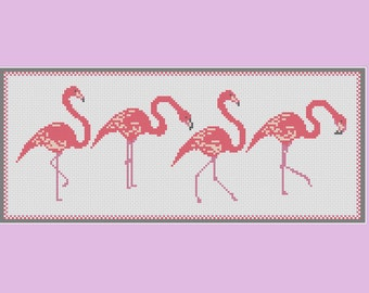 Pink Flamingos cross stitch pattern: flamingo parade