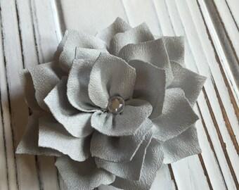 Grey Lotus Flower Hair Clip with Rhinestone