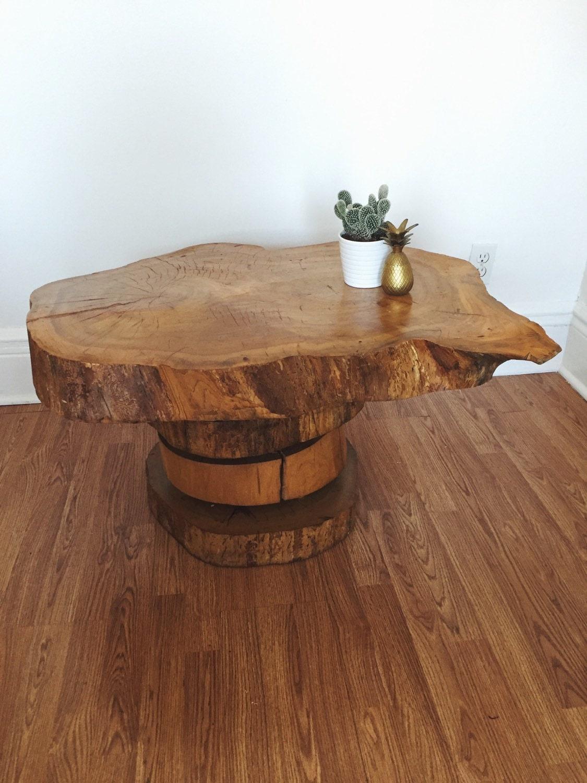 Vintage Live Edge Burl Coffee Table Mid Century Coffee Table