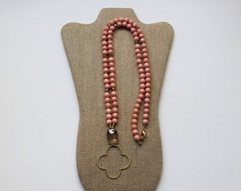 Coral and Gold Beaded Quatrefoil Pendant Long Necklace