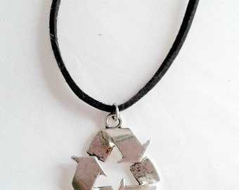recycle symbol necklace silver recycling green peace