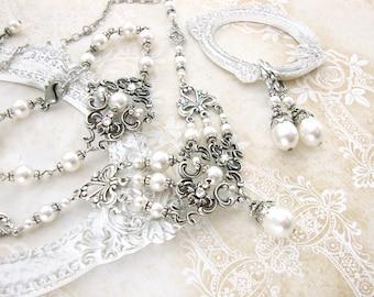 Swarovski White Pearl Wedding Jewelry - Victorian Wedding - Antique Silver Filigree - Vintage Themed Wedding Swarovski Crystal Jewelry Set