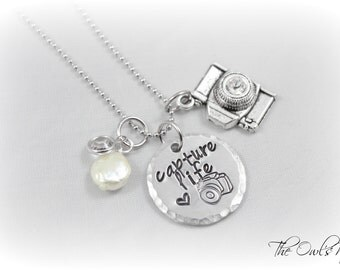 Hand Stamped Capture Life Photography Necklace - Photographer -