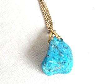 Vintage Turquoise Pendant, Turquoise Necklace, Sky Blue Stone Pendant, Natural Jewelry, Boho Pendant, Southwest Jewelry, Jewelry Stone