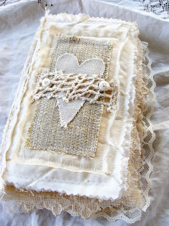 Handmade Fabric Book Covers : Handmade fabric and lace journal book of love