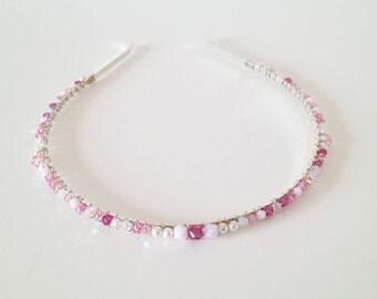Crystal Headband, Swarovski crystal headband, crystal tiara, pink headband, bridal headpiece, bridal tiara, wedding headpiece - PINK