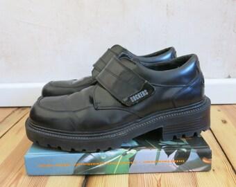 90s vintage DOCKERS black platform vegan leather velcro shoes sz 42 unisex