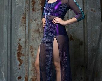 Mermaid Side Split Sheer Dress in Iridescent Mesh by Get Crooked