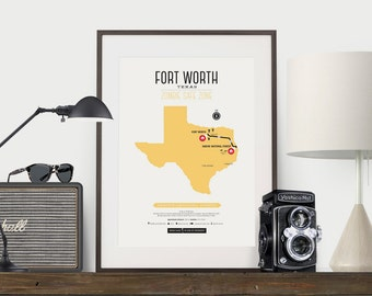 Zombie Safe Zone Texas Map Poster - Fort Worth Texas Map