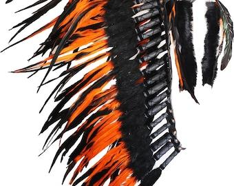 PRICE REDUCED Indian Native Medium  Orange  Feather Headdress (36  inch long )/ war bonnet.
