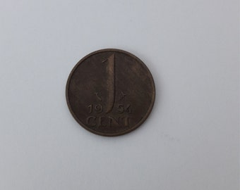 Dutch coin 1 cent Queen Juliana  1954 Netherlands vintage coin