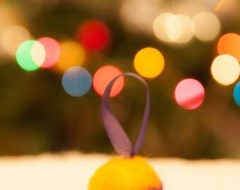 Orange and purple Christmas tree ornament