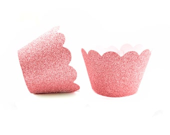 12 Light Pink Glitter Scallop Cupcake Wrappers - Cupcake Liners, Cupcake Cases, Cupcake Wrapper, Muffin Cups, Muffin Wrappers