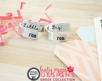 Gamma Phi Beta Big Little Wrap Ring Set - ΓΦΒ Big Little Sorority - Official Licensed Product - ΓΦΒ Big Little Reveal - Hand Stamped Rings