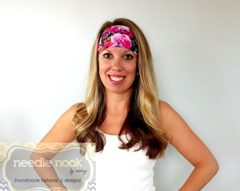 The Floral Print Yoga Headband - Spandex Headband - Boho Wide Headband