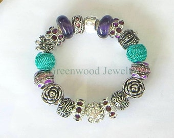 Purple & Green, European Style Charm Bracelet - Lampwork Glass And Crystal Beads and Charms-PANDORA Options Available
