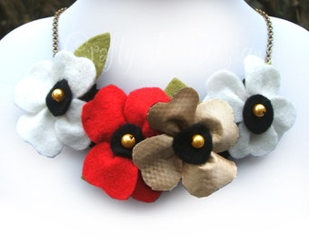 Fabric Flower Necklace of Red, White and Gold Poppies, Christmas Necklace, New Years Eve Jewelry, Bold Statement Poppy Necklace