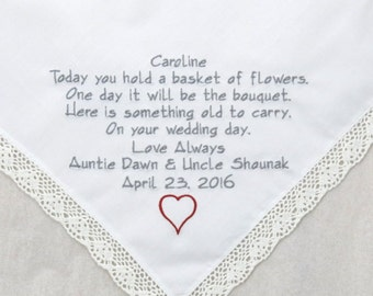 Wedding Gift for Flower Girl Wedding Hankerchief Personalized Flower girl Junior Bridesmaid Gift Embroidered Hadnkerchief Napa Embroidery