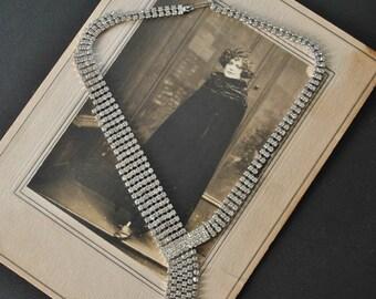 Vintage Rhinestone Asymmetric Necklace