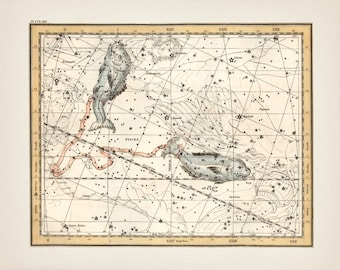 Pisces the Fish Zodiac Sign Constellation - AS-22 - Fine art print of a vintage scientific or pseudoscience antique astronomy illustration
