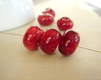 SRA Lampwork Beads, Boro Lampwork Beads, Red Beads, Handmade Lampwork Beads - 6 Beads