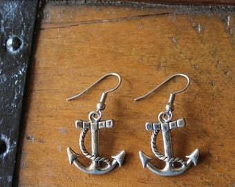 Anchors Away Silver-Plated Metal Earrings