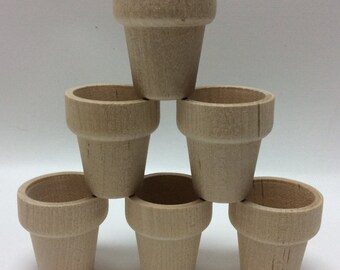 "1-9/16"" Wood Flower Pot - Set of 6 Mini Flower Pots - Unfinished Wooden Flower Pot - Wood Pots - Miniature Flower Pot - Wood Garden Pot"