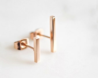 Bar Earrings, Rose Gold, Minimalist, Geometric, Stud Earrings, Line Earrings, Mix And Match Earrings, Titanium Earrings, Best Friend, Gift