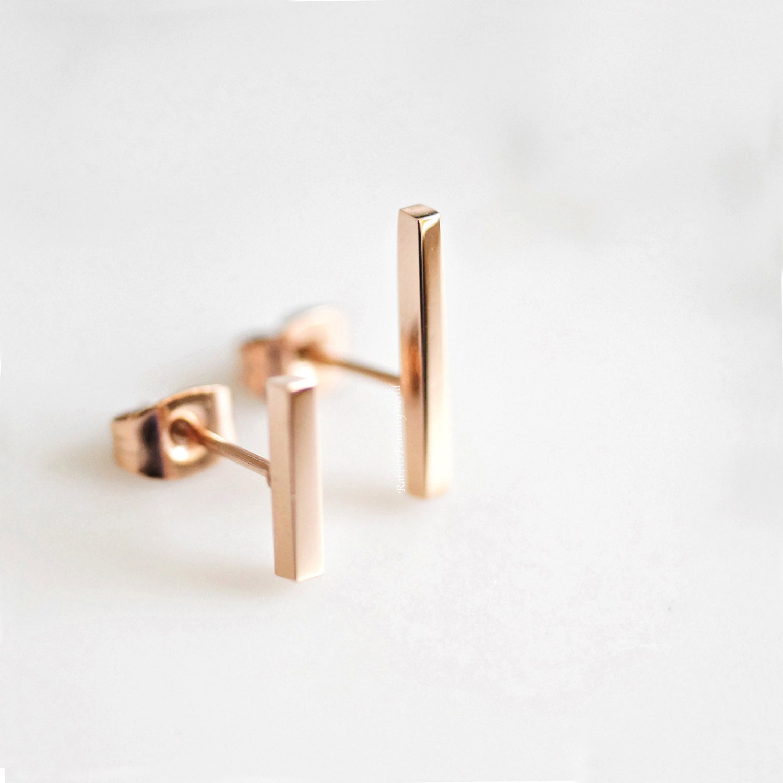 bar earrings gold minimalist geometric stud earrings