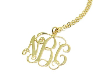 "Monogram Necklace. 1.25"" Initial Personalized.18k gold Plated with gold. Monogram jewelry. Gold monogram.Gold necklace. Personalized jewelry"