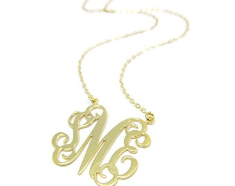 "Monogram Necklace Initial 1"" - Sterling silver 925 Plated 18k gold. Gold monogram necklace. Personalized monogram necklace. Monogram jewelry"