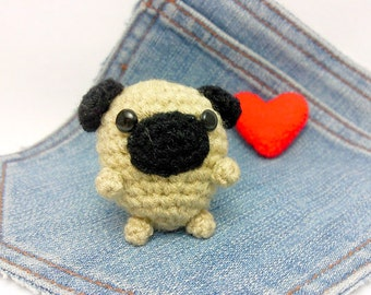 Amigurumi Pug, crochet Pug, Pug plushie+heart. Stuffed Pug. Stocking stuffer.
