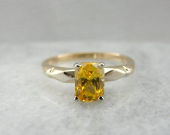 Sun Kissed Sapphire, Vintage Engagement Ring with Rare Gold Yellow Ceylon Gem 3NKU9L-D