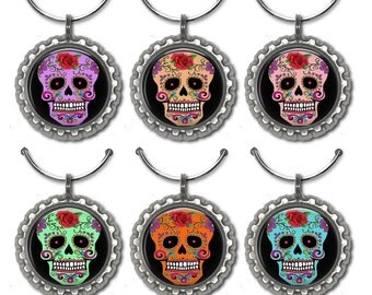 Skull Wine Charms, Wine Charms, Sugar Skulls, Drink Name Tags, Set of 6 wine charms, Day of the Dead, Wine Glass Charms