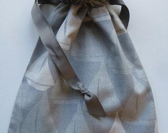 Gray Lined Drawstring Fabric Gift Bag with Sailboats