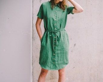 Handmade green linen dress/shirt