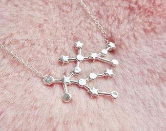 Gemini Constellation Star Sign Zodiac Astrology Space Sci Fi Dainty Silver Pendant Necklace Jewellery Jewelry