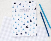 Notebooks - Plans to Move Mountains. Blue Watercolour Painted Pattern. Stocking Stuffer Gift for Men Women. Back to School Stationery Filler